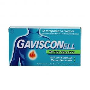 Gavisconell Sans Sucre Menthe 32 Comprimés à Croquer