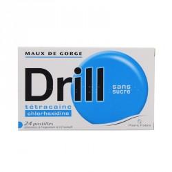 Drill Sans Sucre 24 Pastilles édulcorées à l'aspartam et à l'isomalt