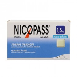 Nicopass 1.5Mg Sans Sucre Menthe Fraicheur 96 pastilles à Sucer