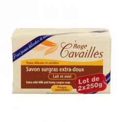 Rogé Cavailles Savon surgras Extra doux Lait et Miel 2 x 250g