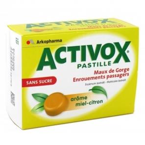 Activox Sans Sucre Arome Miel Citron 24 pastilles édulcorée au sorbitol