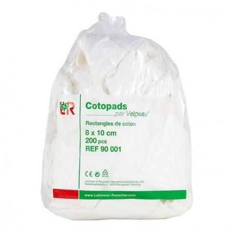 Cotopads 200 rectangles de coton hydrophile 10x8cm