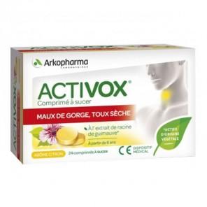 Arkopharma activox maux de gorge toux sèche 24 comprimés