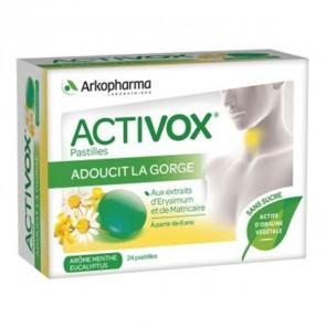 Arkopharma activox pastilles pour adoucir la gorge arôme menthe eucalyptus 24 pastilles