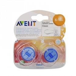 Avent sucette silicone transparente 6-18 mois 2 sucettes